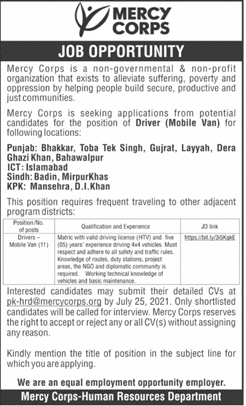 Today Jobs in Islamabad – Mercy Corps Jobs 2021 in Pakistan Latest Advertisement