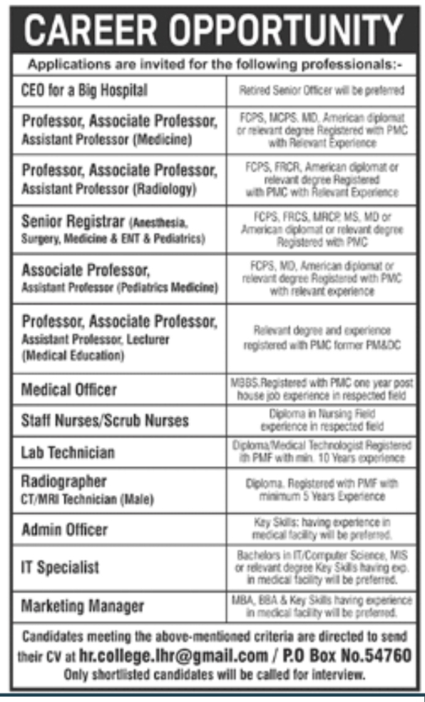 Today Jobs in Lahore - Private Jobs in Lahore 2021 for Female