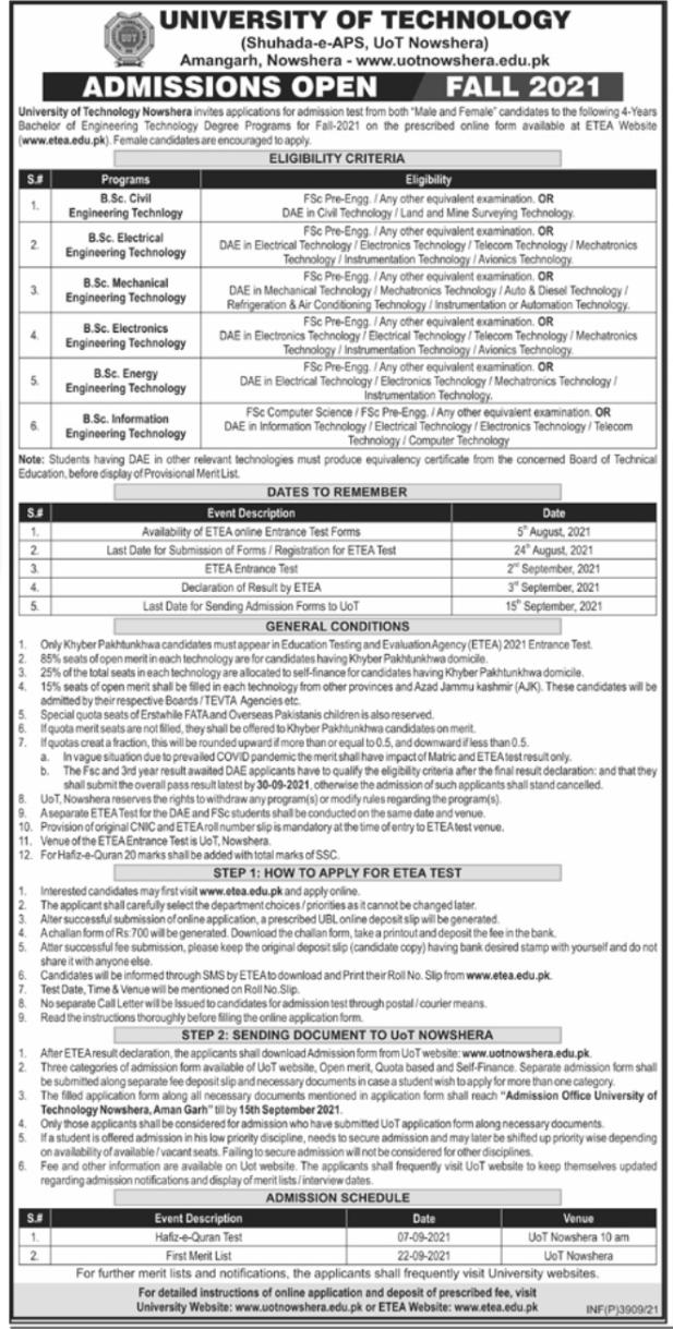 University of Technology Amangarh Nowshera Admissions 2021