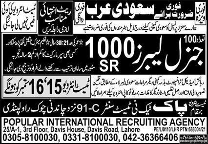 General Labour Jobs in Saudia Arabia 2021 Latest