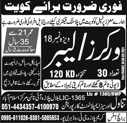 Workers/Labors Jobs in Kuwait 2021 Latest