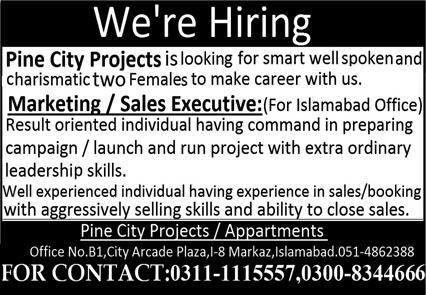 Marketing Sales Executive Jobs in Islamabad 2021 Latest