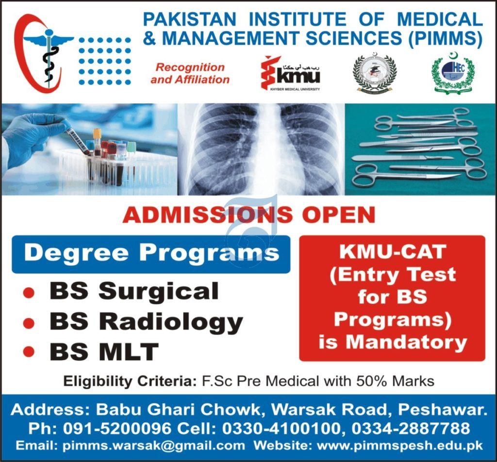 PIMMS Peshawar Admissions Open 2021 Latest