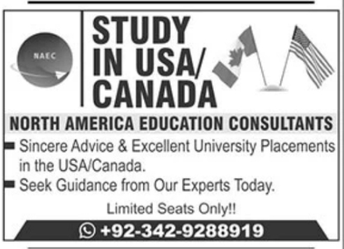 Study in USA/Canada Advertisement 2021 Latest
