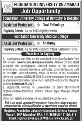 Assistant Professor Jobs in Foundation University Islamabad 2021 Latest