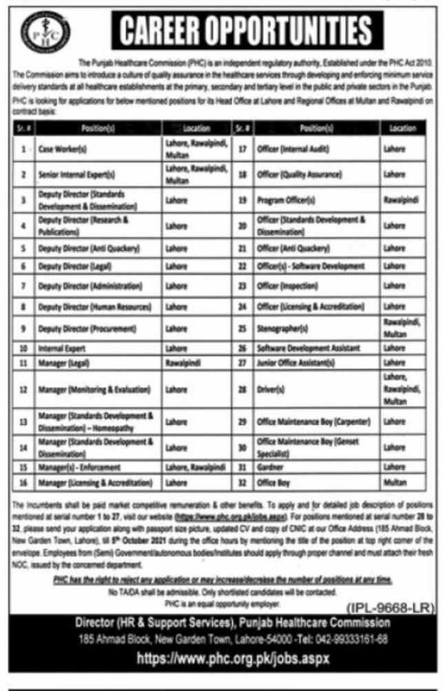 The Punjab HealthCare Commission Jobs 2021 Latest