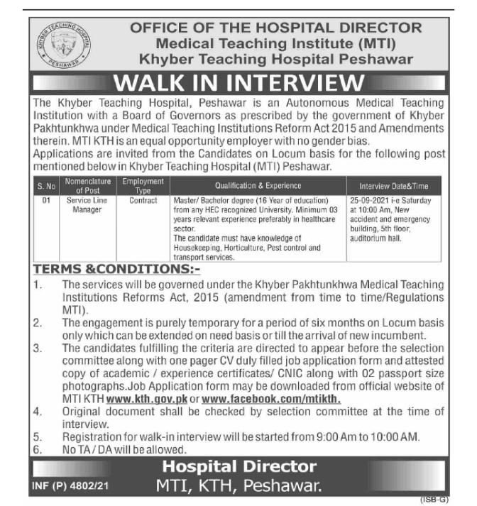 Medical Teaching Institute & Hospital KPK Jobs 2021