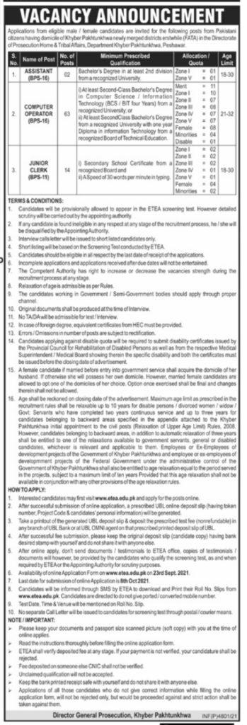 Assistant , Computer Operator & Junior Clerk Jobs in KPK 2021 Latest