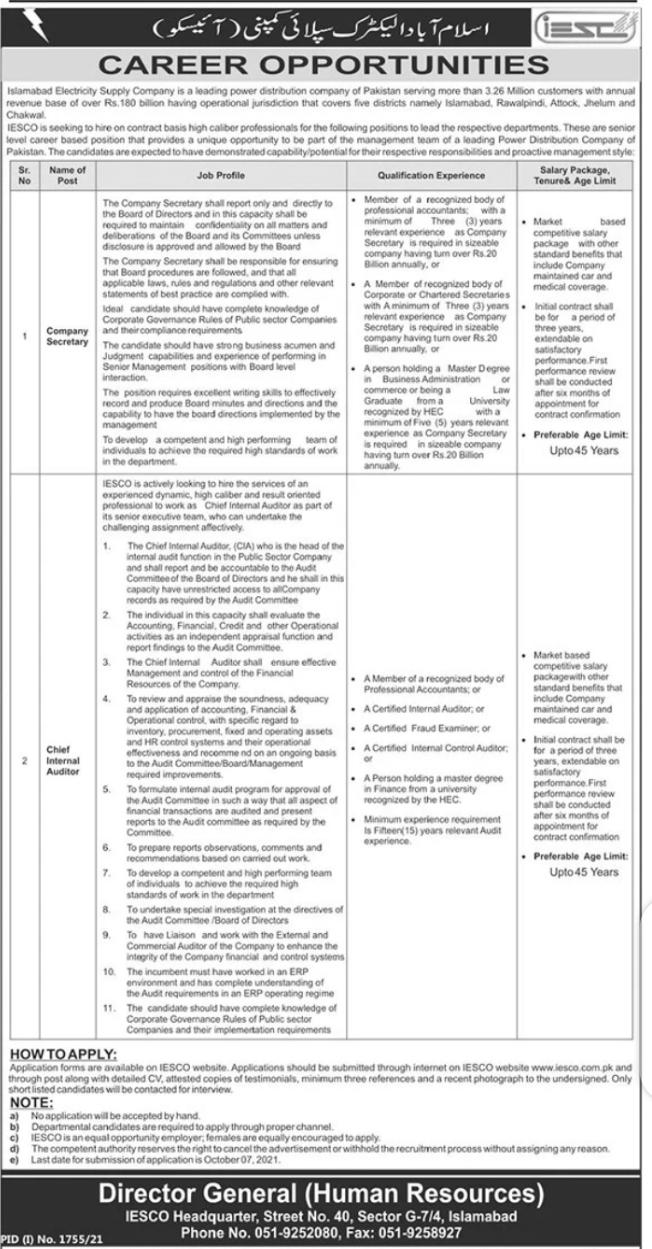Islamabad Electric Supply Company Jobs September 2021 - IESCO Jobs