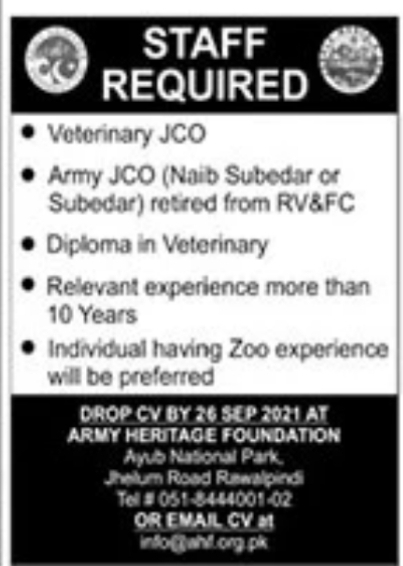 Army Heritage Foundation Rawalpindi Jobs September 2021